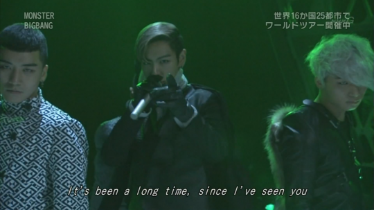 "Still from Big Bang's Live Performance of ""Monster"" on Japanese TV"