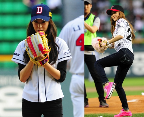 "f(x)'s Krystal Throws First Pitch for Baseball Game, ""Are you watching Jessica?"""