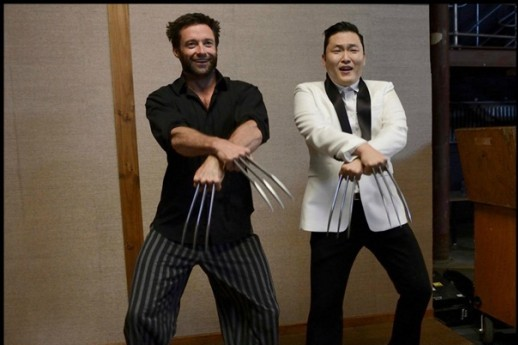 Oppan Wolverine Style! Psy Does Horse-Riding Dance with Hugh Jackman