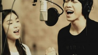Lee Seung Gi and Kim Yuna recording