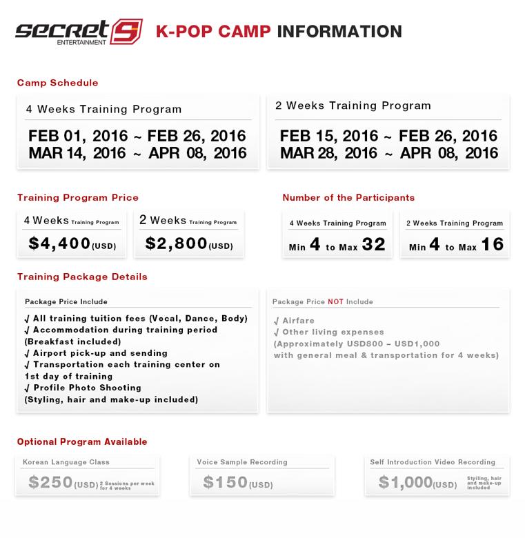secret9 kpop camp info