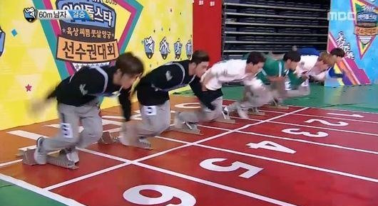 "MONSTA X's Jooheon, BTOB's Minhyuk, and BTS's Jungkook, and More Compete in Close 60 Meter Dash on ""2016 Idol Star Athletics Championships"""