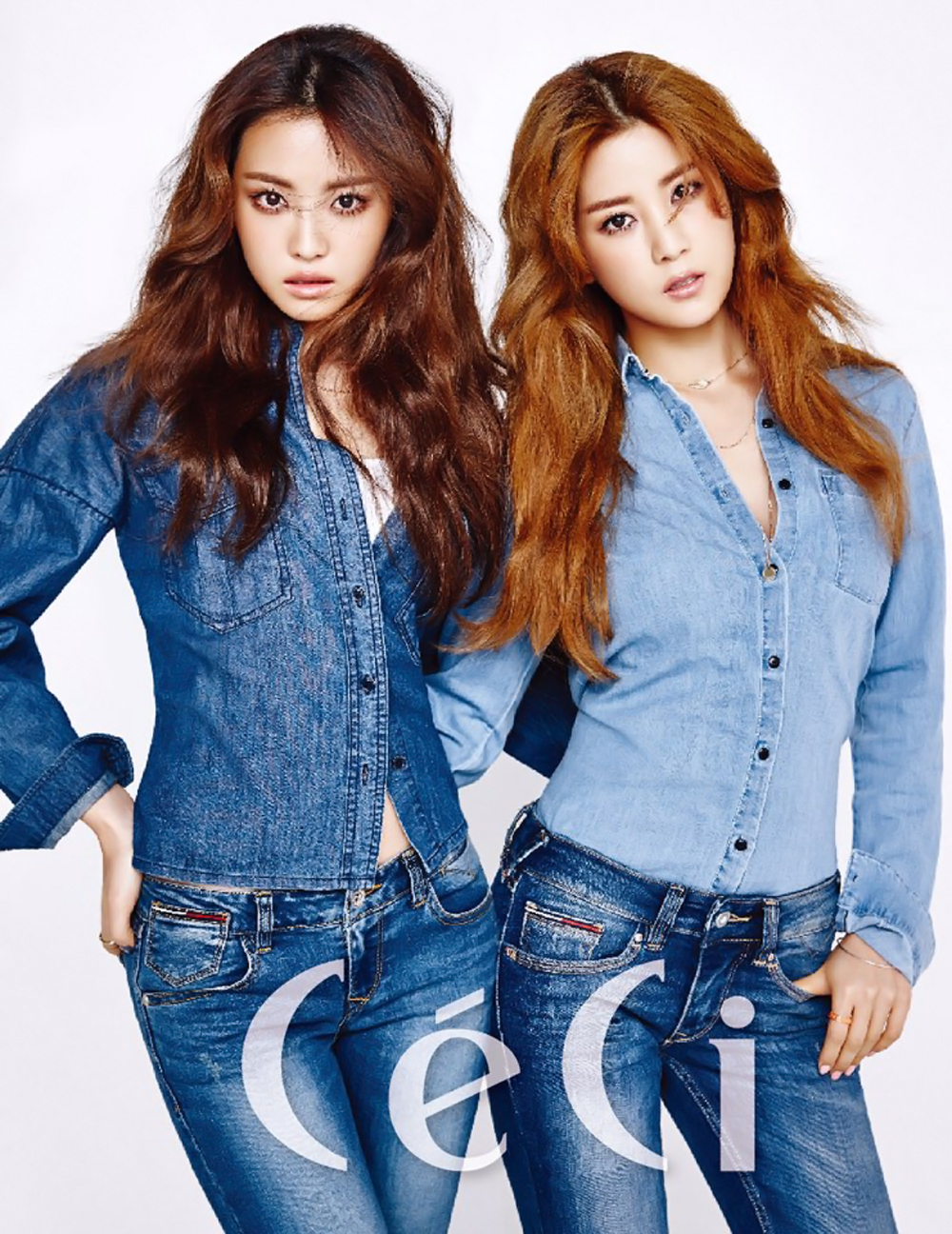 A Pink's Naeun and Chorong Are Decked in Denim for CeCi