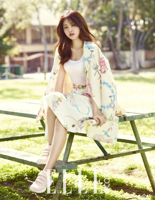 A Pink's Son Naeun Transforms into a Spring Goddess in Elle Pictorial