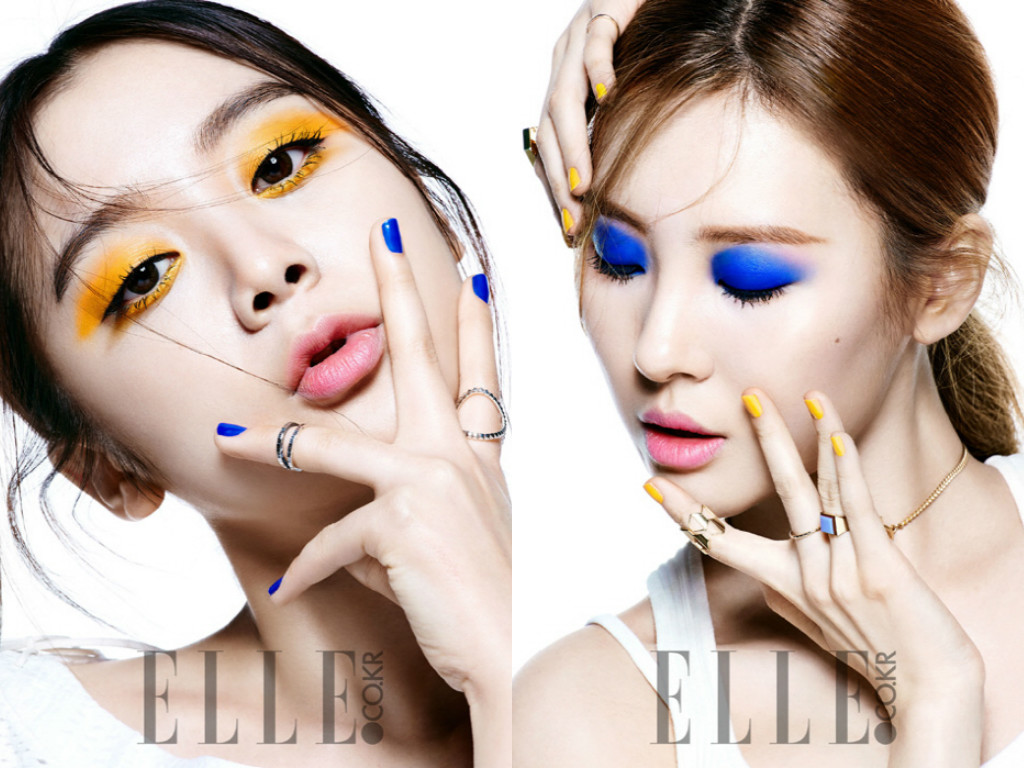 "Wonder Girls' Hyelim and Sunmi Display Off New Makeup for ""Elle"""
