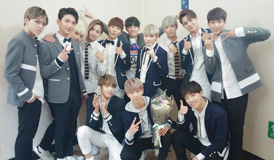 A picture of SEVENTEEN from one of their music show awards!