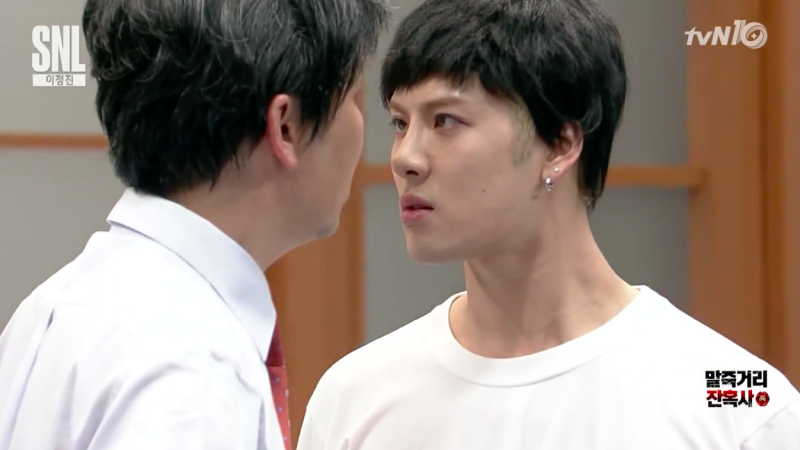 "Watch: GOT7's Jackson Gives Shin Dong Yup an Angry Kiss on the Lips on ""SNL Korea"""