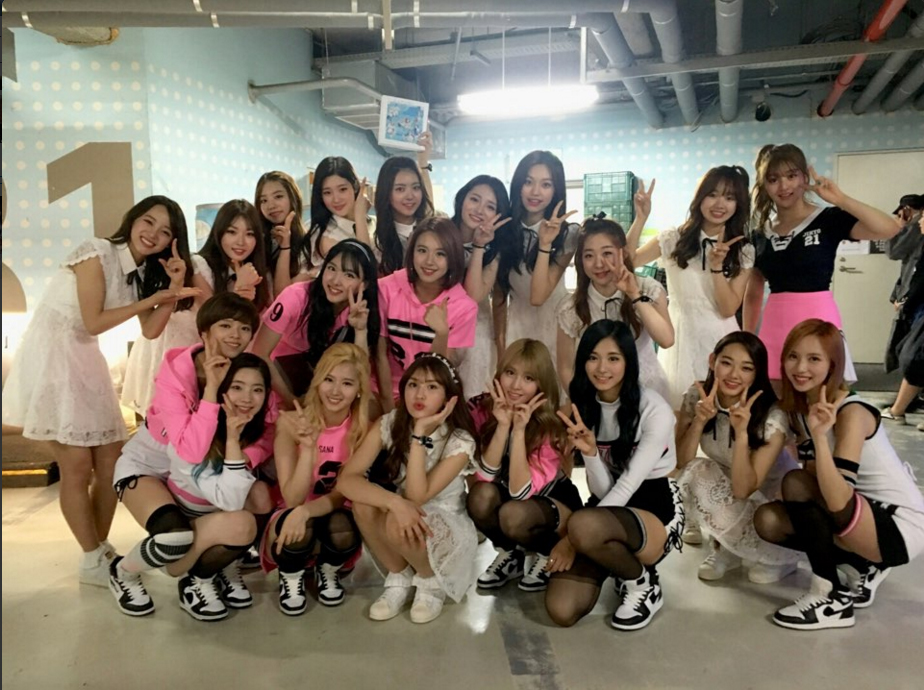 TWICE and I.O.I Share A Cute Backstage Photo from M!Countdown