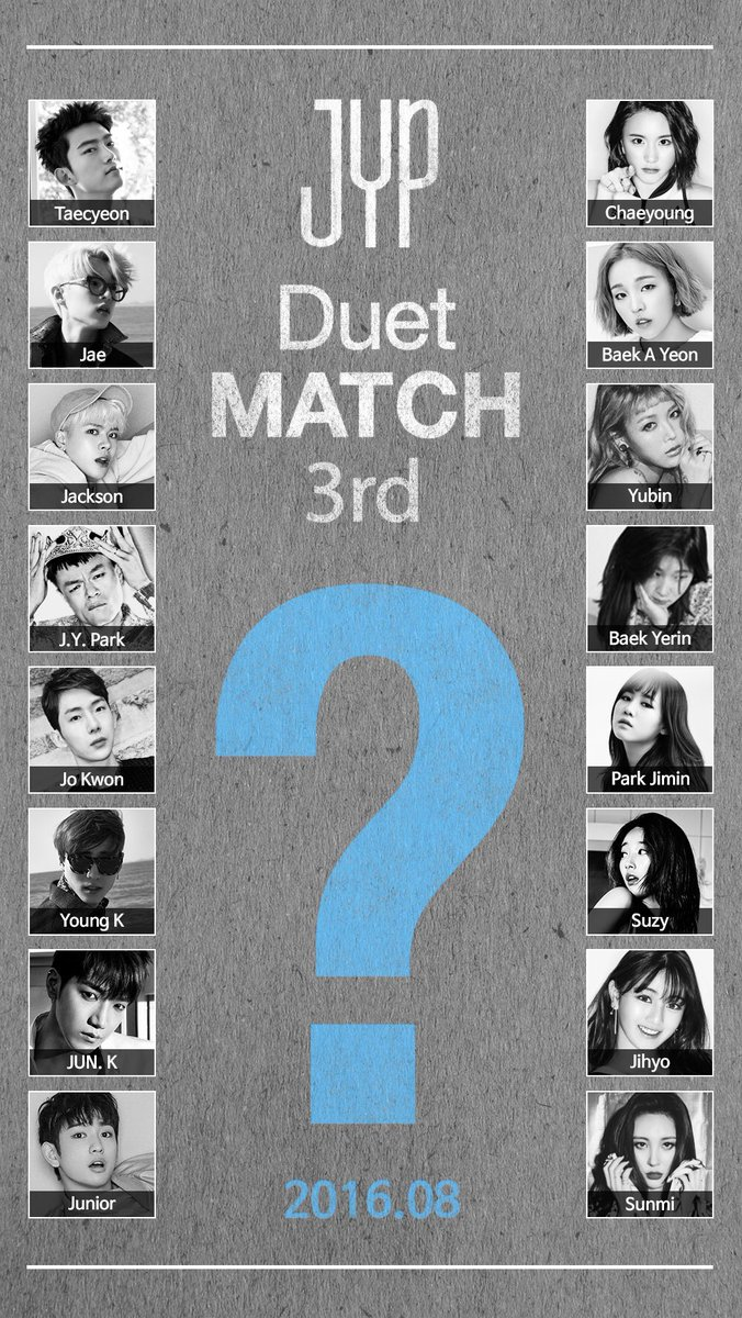 JYP Entertainment Teases 3rd Duet Match To Be Released In August