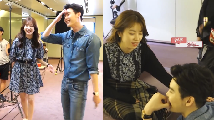 """Watch: Lee Jong Suk Blushes While Filming Kiss For """"W,"""" Han Hyo Joo Cheers Him On In Tough Scene"""