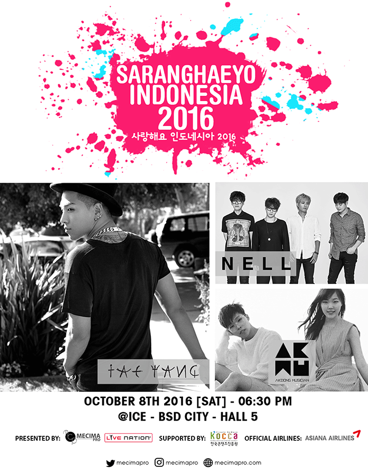 """Saranghaeyo Indonesia"" Concert To Bring Taeyang, Akdong Musician, and Nell to Jakarta"