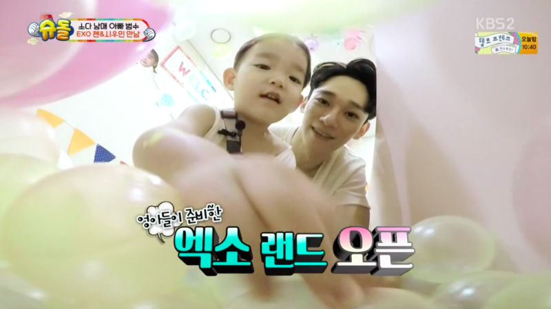"Watch: EXO's Chen And Xiumin Delight Da Eul And So Eul During Play Date On ""The Return Of Superman"""