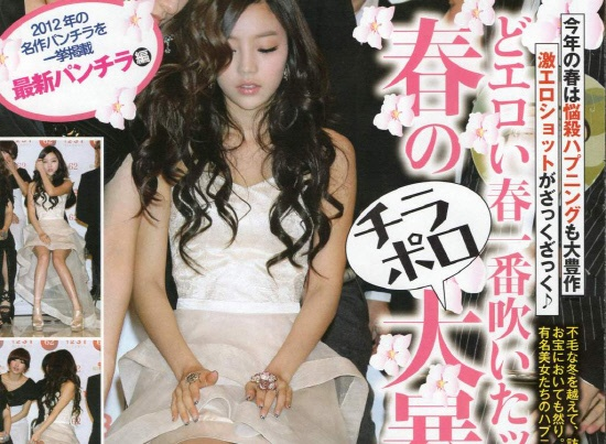 The Inside of Goo Hara's Skirt Magnified in a Japanese Adult Magazine Cover
