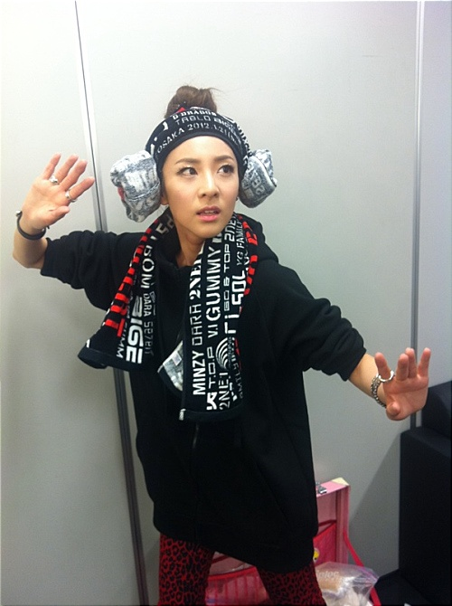 2NE1 Sandara Park's Cute Apple Hairstyle