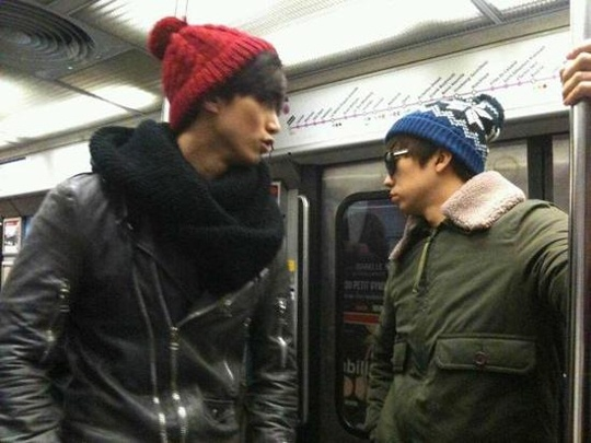 2PM Wooyoung and Taecyeon in the Paris Subway