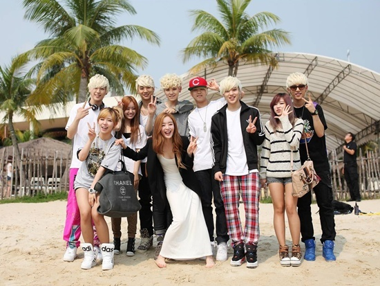 Secret and B.A.P Beach Picture in Singapore