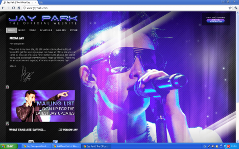 Jay Park Opens Official Website