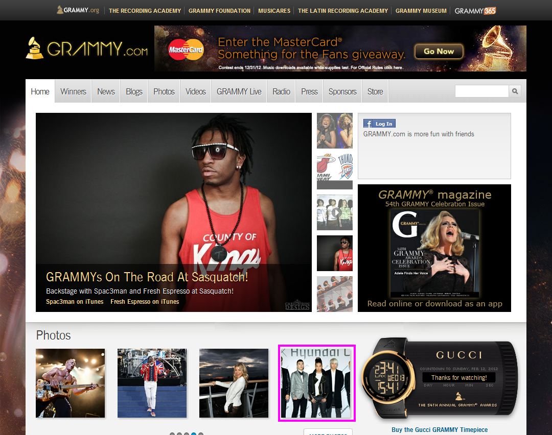 Big Bang Hot Abroad, Makes Grammy.com Homepage Again