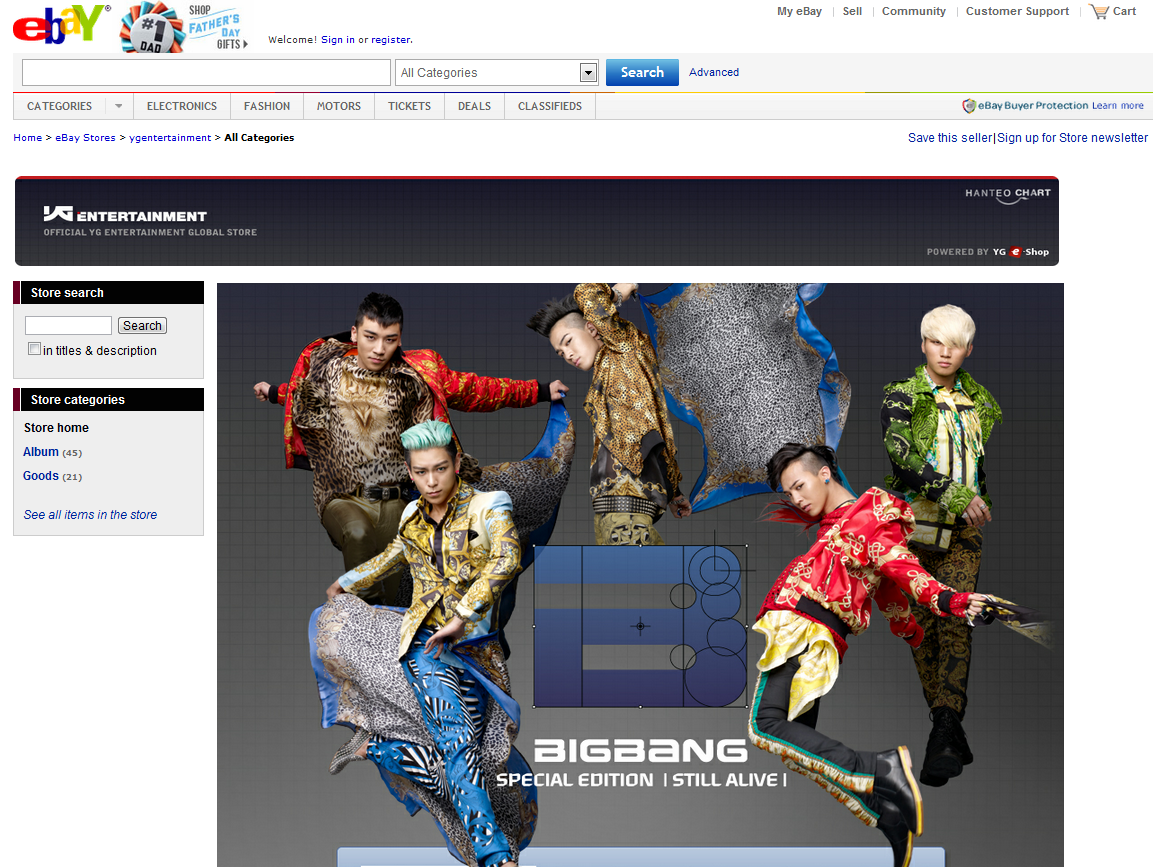 YG Entertainment eBay store Big Bang