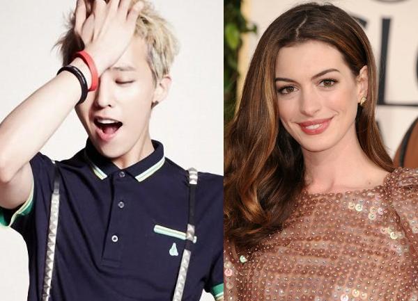 Big Bang's G-Dragon Plants a Kiss on Anne Hathaway