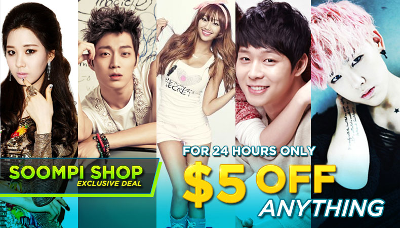 [Soompi Shop] $5 OFF ANYTHING – For 24 Hours Only!