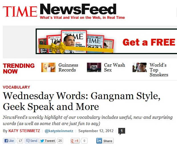 """""""Gangnam Style"""" Makes Time Magazine's Weekly Vocabulary List"""