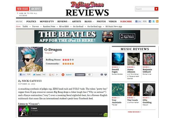 "Rolling Stone Magazine Reviews G-Dragon's ""Crayon"""