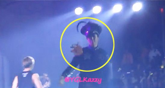 T.O.P Gets Hit by Fan's Underwear at Concert