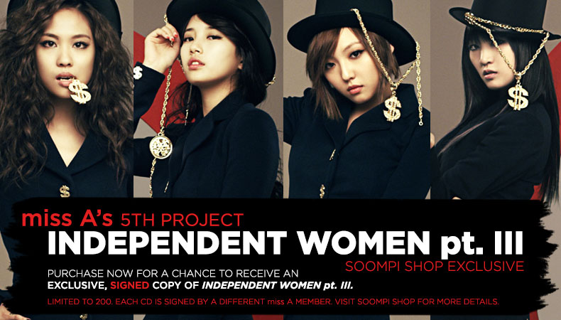 "[Soompi Shop] miss A ""Independent Women"" Autographed Package!"