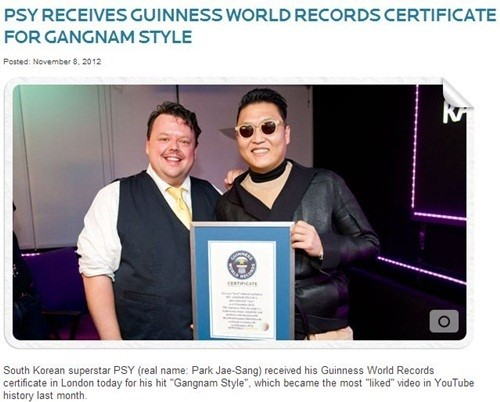 """PSY Receives Guinness World Records Certificate for """"Gangnam Style"""""""