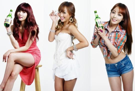 Soju Ads of Goo Hara, HyunA and Hyorin Released