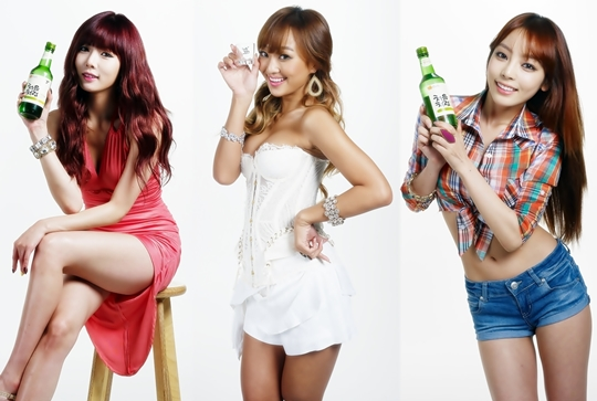 Soju Ads of Goo Hara, HyunA and Hyorin Released