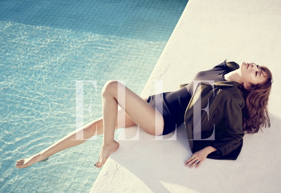 "Kim Ah Joong Flaunts Her Long Legs for ""Elle"""