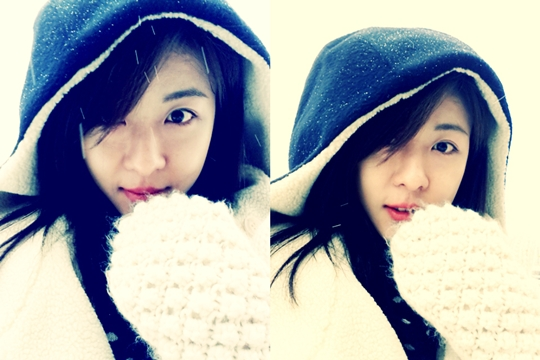 Ha Ji Won Reveals Her Fresh Faced Snow Selcas