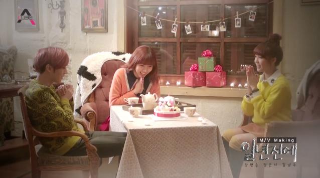 """BEAST's Hyun Seung, A Pink's Eunji and Namjoo Reveal BTS for """"A Year Ago"""""""