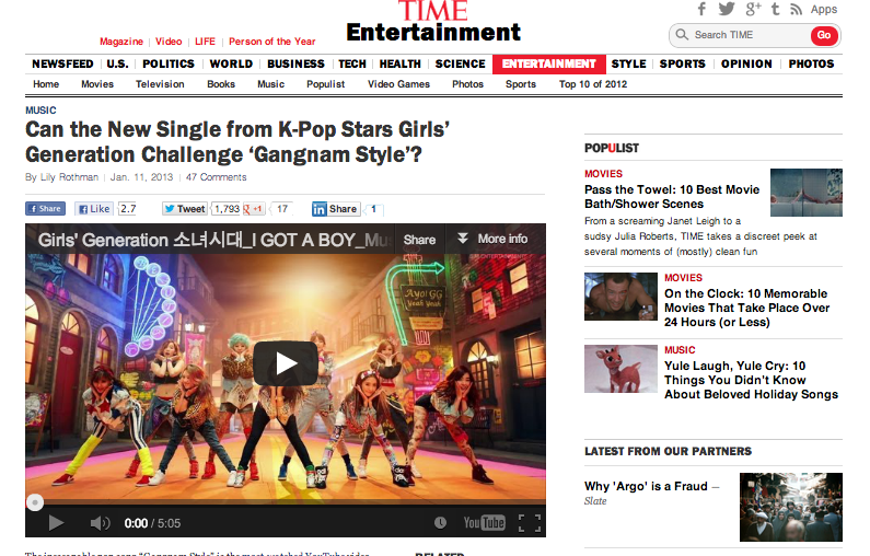 TIME Magazine Mentions Girls' Generation On Their Website