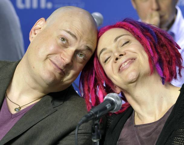 """Directors Andy and Lana Wachowski attend a news conference for their film """"Cloud Atlas"""" at the 37th Toronto International Film Festival"""