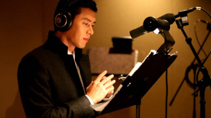 Recent Photos of Hyun Bin at a Recording Booth Are Released