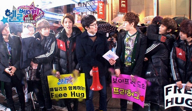 Boyfriend Holds Free Hug Event in Myeongdong