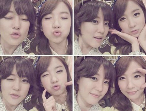 [SNS Pic] Rainbow's Woori and Jisook Tempt Fans by Puckering Up