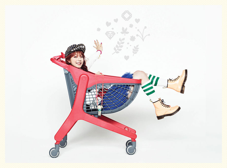 Juniel Fits in a Cart in New Album Jacket Photo
