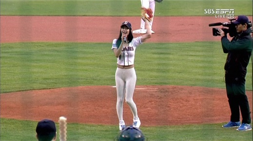 Clara Causes a Stir with Her Sexy Ceremonial First Pitch