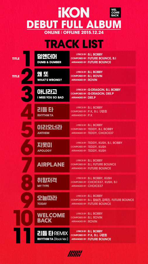 "iKON Unveils Full Tracklist for Debut Album ""Welcome Back"