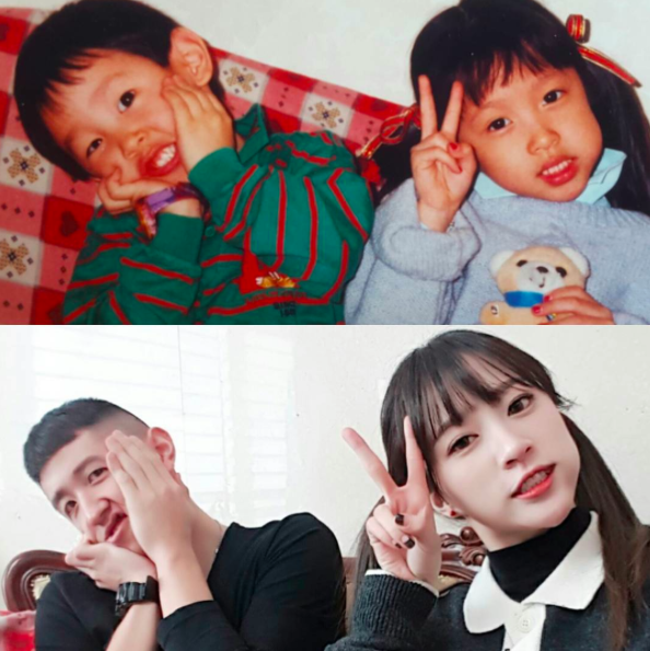 EXID's Hani Recreates Childhood Photo With Her Brother