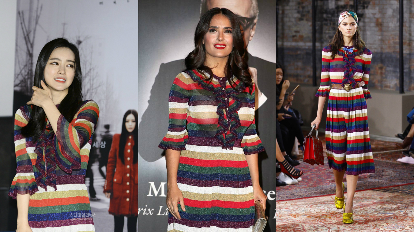 Who Wore It Better? Hong Soo Ah or Salma Hayek in Gucci
