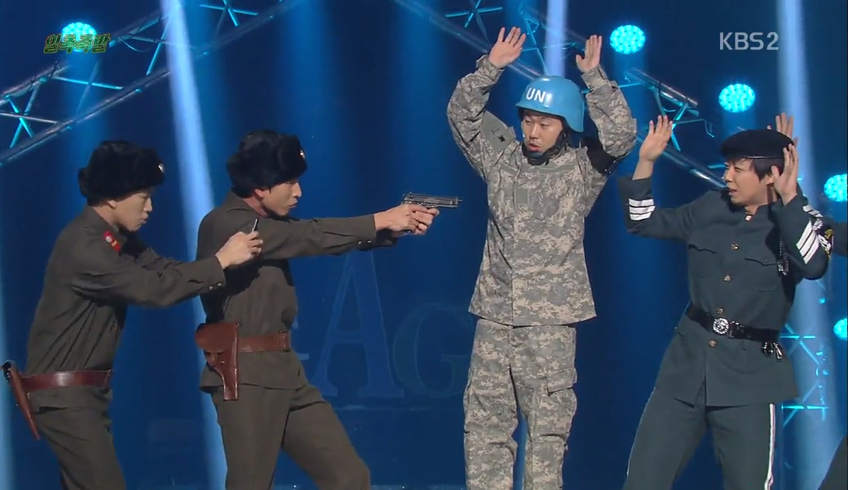 """Gag Concert"" Reminds Audience Most Soldiers Do Not Look Like Song Joong Ki From ""Descendants of the Sun"""