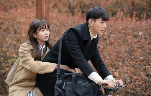 "Ji Soo and Kim So Hyun Enjoy a Romantic Bike Date for ""Page Turner"""