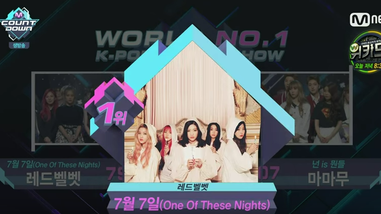 "Watch: Red Velvet Takes 3rd Win for ""One of These Nights"" on ""M!Countdown"""