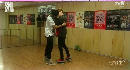 "Watch: Block B Shares a Kiss in ""Fanfiction"" Scene on ""SNL Korea"""