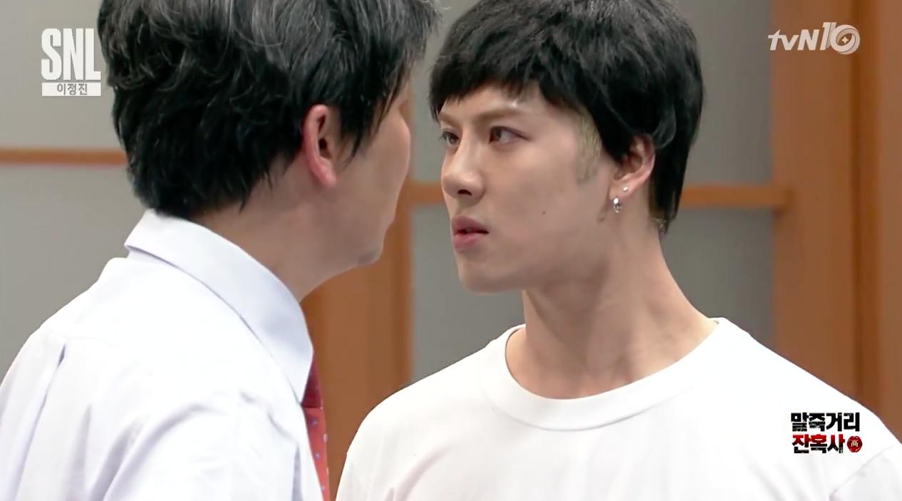 "Watch: GOT7's Jackson Gives Shin Dong Yup an Angry Kiss on the Lips on ""SNL Korea"""